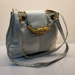 Handbags - Metallic Silver Handbag with Alligator Clasp